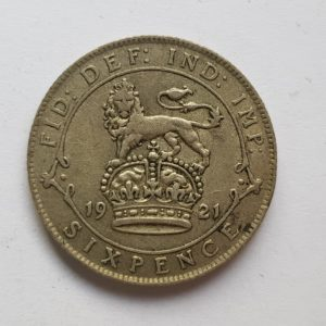 1921 King George V Silver Sixpence