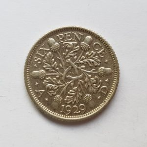 1925 King George V Silver Sixpence