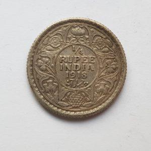 1918 India Quarter Silver Rupee