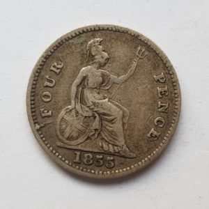 1855 Queen Victoria Silver Fourpence