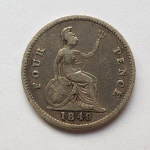 1849 Queen Victoria Silver Four Pence