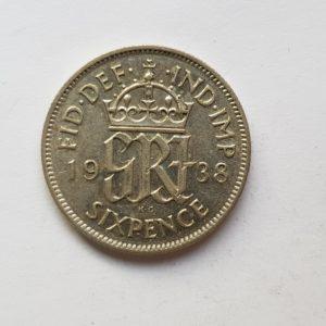 1938 King George VI Sixpence