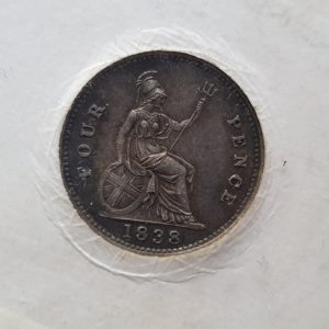 1838 Queen Victoria Silver Fourpence
