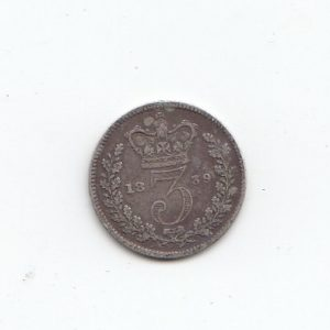 1839 Queen Victoria Silver Threepence