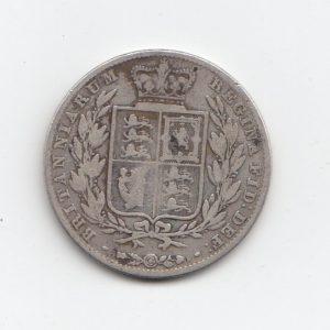 1845 Queen Victoria Silver Half Crown