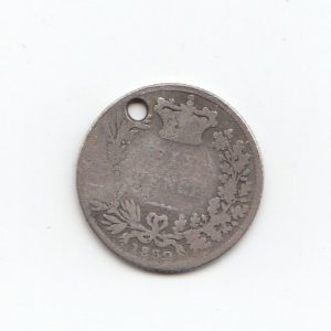 1852 Queen Victoria Silver Six Pence