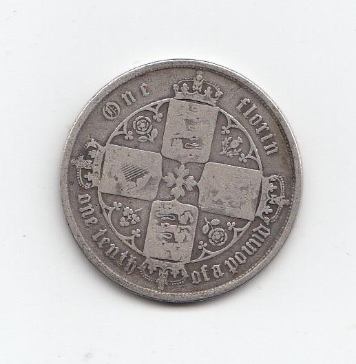 1856 Queen Victoria Silver Gothic Florin