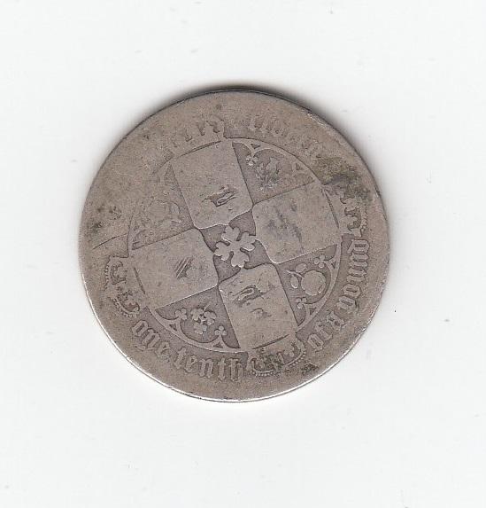 1857 Queen Victoria Silver Gothic Florin