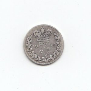 1864 Queen Victoria Silver Threepence