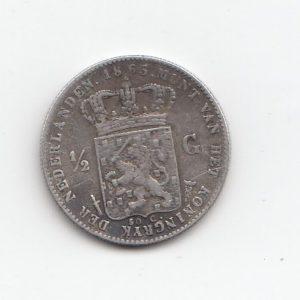 1865 Netherlands King Willem III Silver Half Gilder