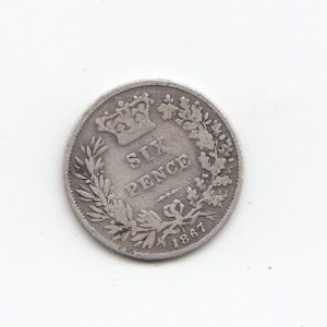 1867 Queen Elizabeth Silver Sixpence