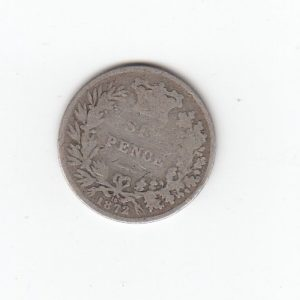 1872 Queen Victoria Silver Six Pence