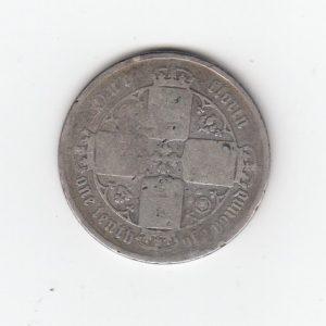 1872 Queen Victoria Silver Gothic Florin