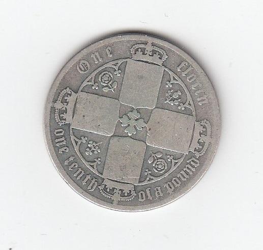 1873 Queen Victoria Silver Gothic Florin