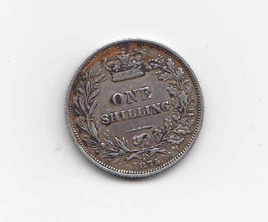 1875 Queen Victoria Silver Shilling - Die 66 - M J Hughes ...