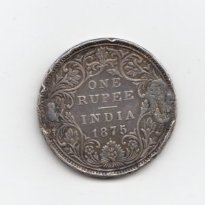 1875 India Silver One Rupee