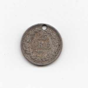 1877 Sweden Silver 25 Ore