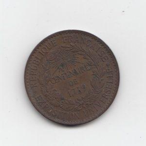1879 France Century Expo. Medallion