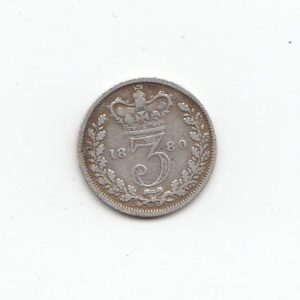 1880 Queen Victoria Silver Threepence
