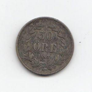 1883 Sweden Silver 50 Ore