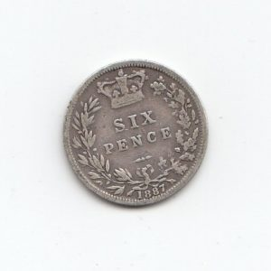 1887 Queen Victoria Silver Six Pence