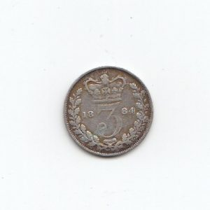 1884 Queen Victoria Silver Threepence