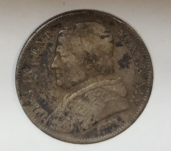 1865 Papal States Silver 20 Baiocchi