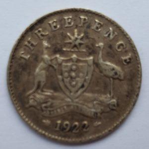 1922 Australia Silver Threepence