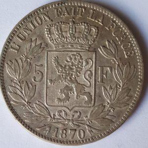 1870 Belgium Silver 5 Francs