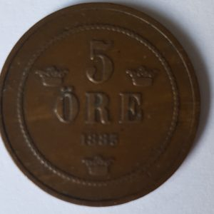 1883 Sweden Oscar II 5 Ore