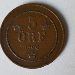 1900 Sweden Oscar II 5 Ore
