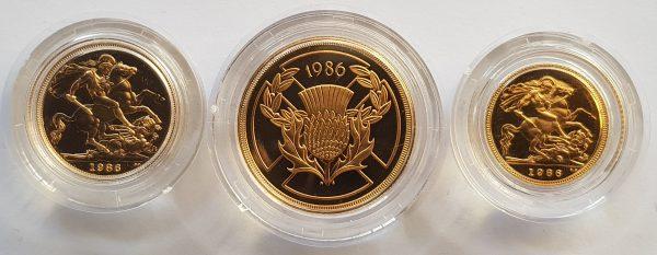 1986 3 Coin Sovereign Set