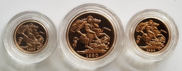 1990 3 Coin Sovereign Set