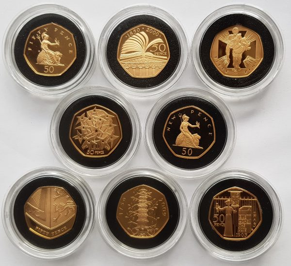 2009 Piedfort Gold Proof 50p Set