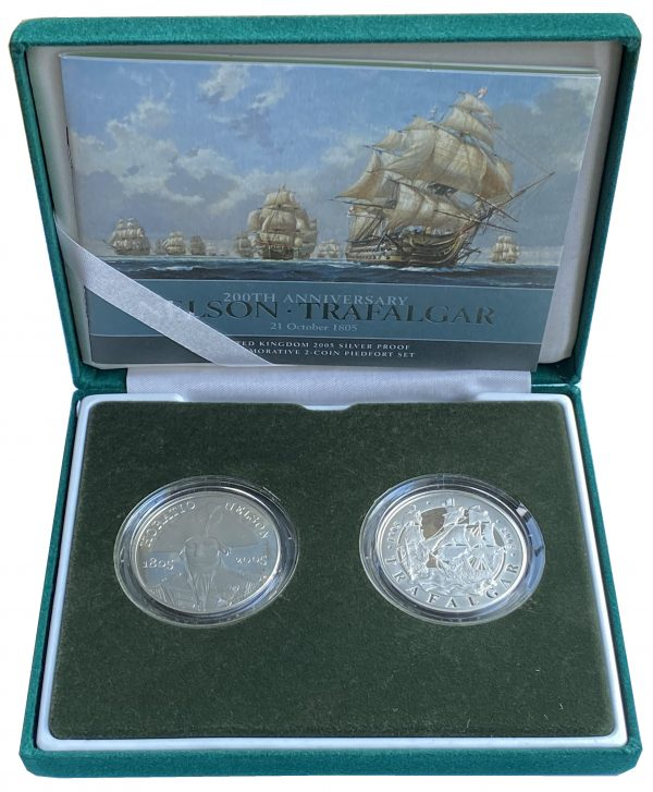 2005 Nelson and Trafalgar Silver Proof Piedfort Five Pounds Set