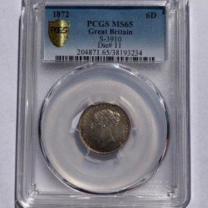 1872 Sixpence