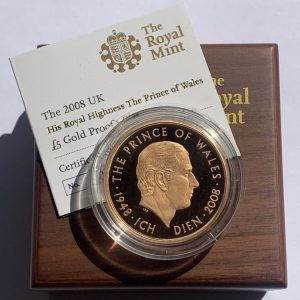 2008 Prince Charles 60th Birthday Gold Proof Five Pounds