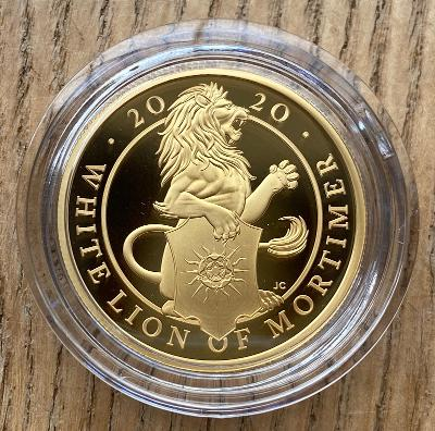 2020 Queens Beasts White Lion of Mortimer Gold Proof 1 Ounce