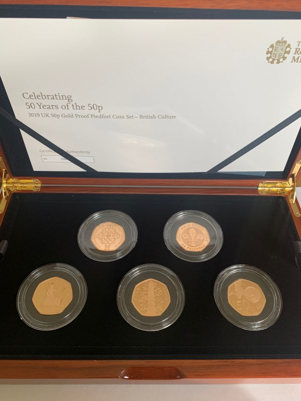 2019 Culture Piedfort 5 Coin Gold Proof Fifty Pence Set