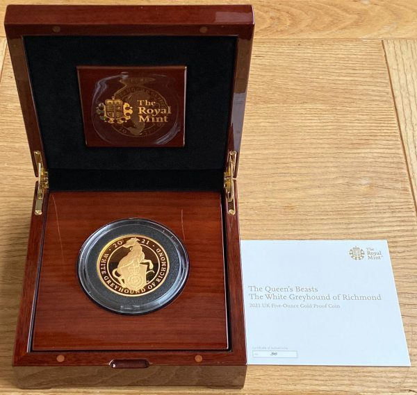 2021 Queens Beasts White Greyhound of Richmond Gold Proof Five Ounce £500