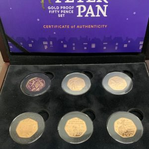 2019 Peter Pan 6 Coin Gold Proof Fifty Pence Set