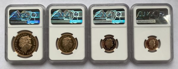 2002 4 Coin Gold Proof Sovereign Set PR70