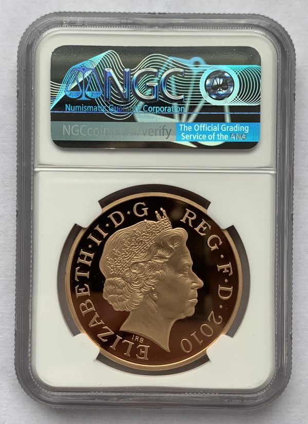 2010 Restortion of Monarchy gold proof five pounds PR70