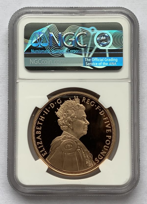 2012 Diamond Jubilee Gold Proof Five Pounds PR70