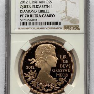 2012 Diamond Jubilee Gold Proof Five Pounds PR70