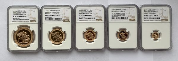 2017 5 Coin Gold Proof Sovereign Set PR70