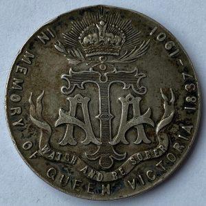 1901 Queen Victoria Empress of India Silver Army Temperance Medal