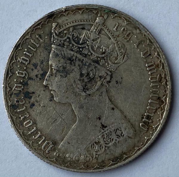 1885 Queen Victoria Silver Gothic Florin