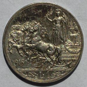 1916 Spain Silver 1 Lire