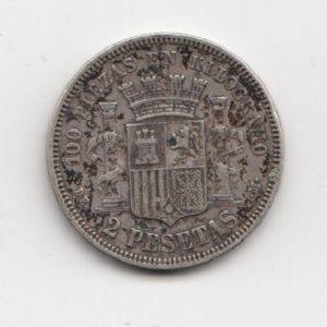 1870 Spanish 2 Pesetas